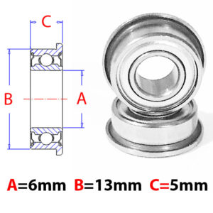 AT Flanged Bearings 6X13X5mm Metal Shield (f686zz)-0